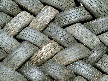 interleaved: Pile of interleaved waste tyres Stock Photo