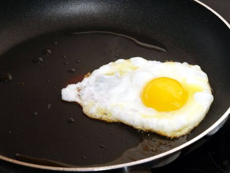 nonstick: Single egg frying in a non-stick frypan