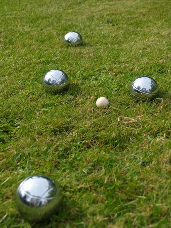 boules: Silver boules on a summer lawn Stock Photo
