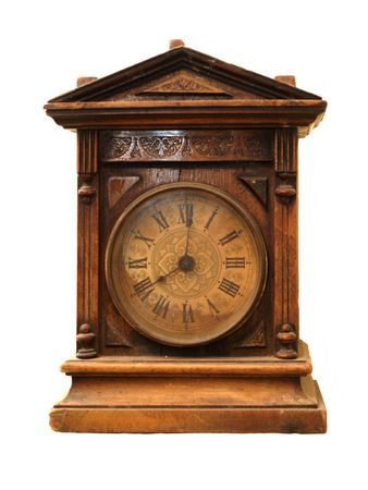 mantelpiece: Antique wooden mantelpiece clock isolated on white   Stock Photo