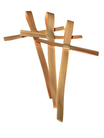 palm sunday: Group of three palm crosses isolated on white
