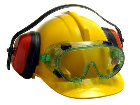 defenders: Safety helmet, goggles and ear defenders isolated on white        Stock Photo