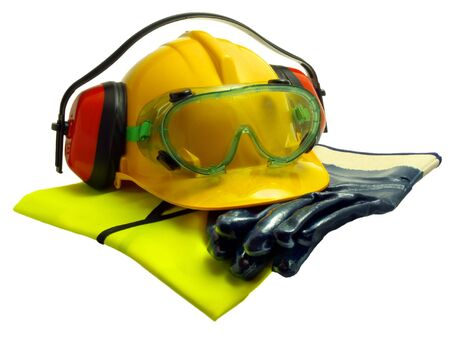 Gloves, luminous vest hard hat ear defenders and goggles isolated on white photo