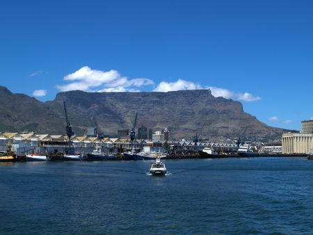 Table Mountain from the entrance to Cape Town harbour photo