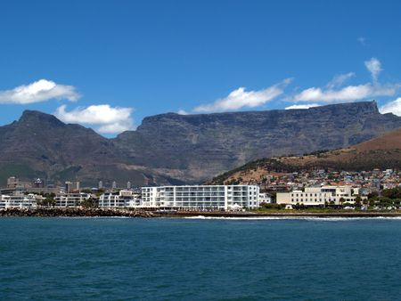 Table Mountain from the sea with hotels in the foreground photo