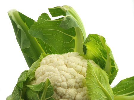 head of cauliflower: Head of cauliflower, with leaves, isolated on white
