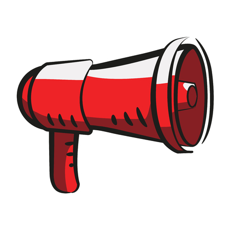 Megaphone, the red loudspeaker in cartoon style. Sign, icon, symbol. Stock vector illustration on white background. Transparency. Illustration