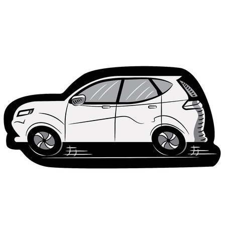 White Car on a Black Die. Sticker. Icon. Sketch. Symbol. Sign. Stock Vector Illustration. Transparent White Isolated
