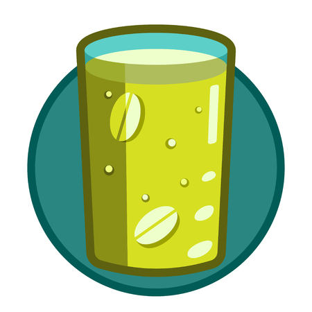 A glass of clear glass with effervescent soluble tablets, water-soluble vitamins, medicine. The icon on the theme of food, health. Green colour, transparency