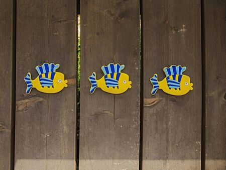 Three identical rubber yellow-blue toy fishes on the wooden floor of a wooden country house. Horizontal orientation, space for text. Standard-Bild