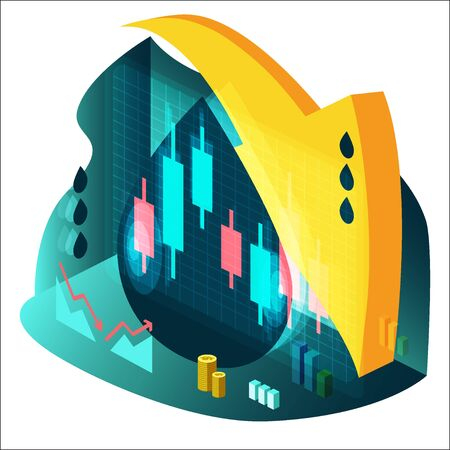 Illustration in isometric style on the theme of oil price fluctuations. Charts of rising and fall, chart of Japanese candles, a stack of dollar coins, an arrow pointing down to a large dark drop.