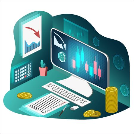 Bitkoin, desktop computer, graph of the fall on the screen, Japanese candles. Checklist. Isometric. Vector illustration. Transparence