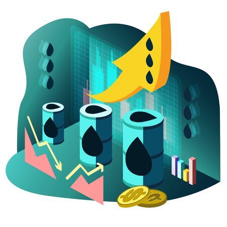 Illustration in isometric style with oil barrels, growth and fall graph, japanese candles and dollar coins. Ilustracja