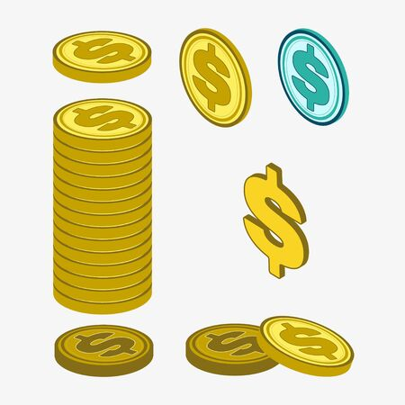 Set of dollar coins in yellow and green on a white background. Separate coins and stack. Vecteurs