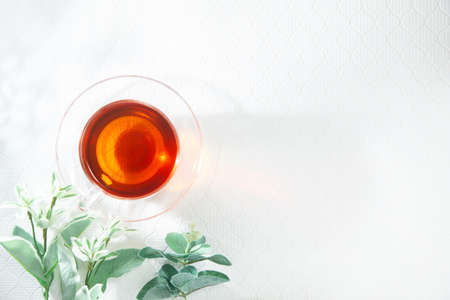 Decaffeinated rooibos tea in a clear glass. Imagens