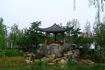 architectural style: Ancient architectural style pavilion in a park