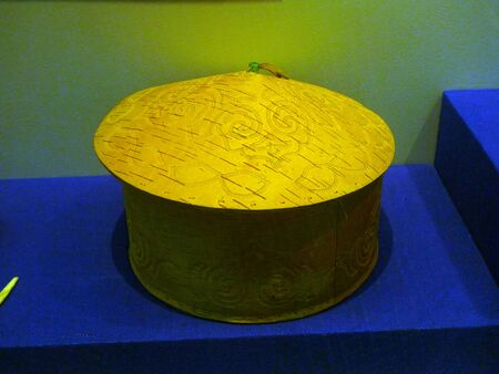 folk heritage: Hezhe ethnicity,  birch bark box