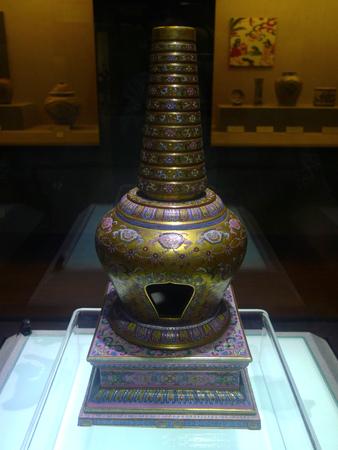 wuhan: Wuhan Museum golden pagoda of pastels around Lotus design, Qing dynasty (1736-1795)
