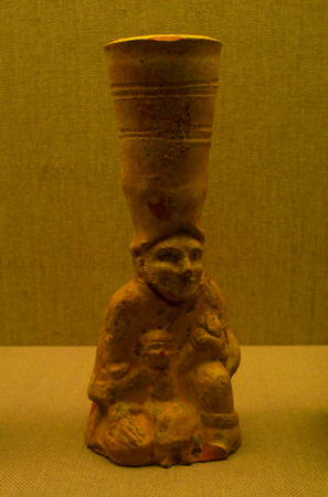 wuhan: Wuhan Museum shaped pottery lead glaze candlestick Han (206-220 BC)