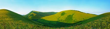 Caucasus Mountains in Kabardinka, Russia. Panoramic view 스톡 콘텐츠