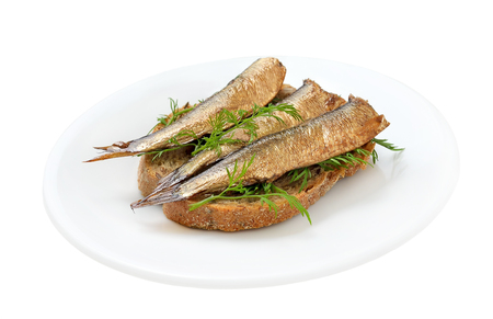 sardine can: Sprats sandwiches on a plate on isolated on white background