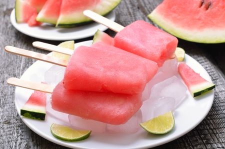 Ice cream from frozen watermelon on white plate, close up
