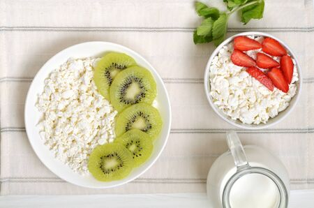 Cottage cheese and strawberry in white bowl