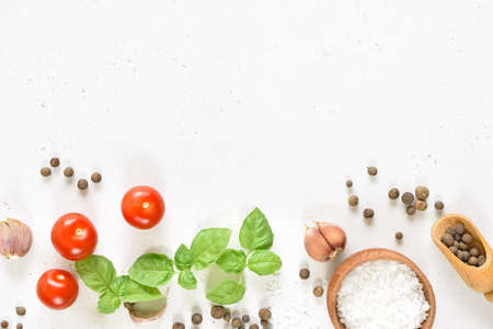 Fresh basil and spices on white stone background with copy space. Top view, flat lay Stock Photo - 152490152