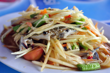 spicy food: Spicy papaya salad Stock Photo