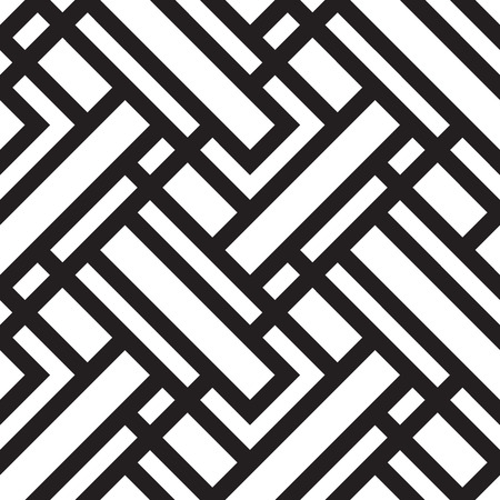 Vector seamless pattern, black and white geometric background. Ilustração