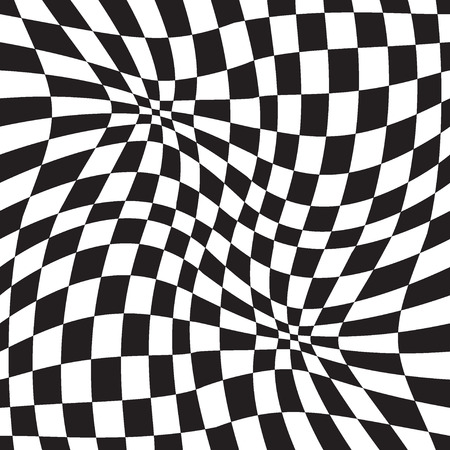 trickery: Vector seamless pattern, optical illusion geometric background Black and white.