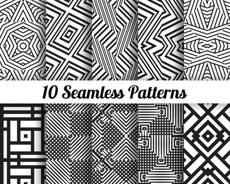Set of 10 Abstract patterns. Black and white seamless backgrounds.