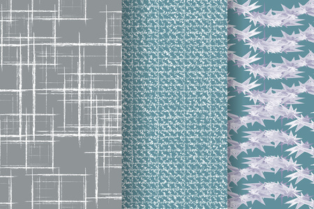 Set of 3 Abstract patterns. Color seamless backgrounds.