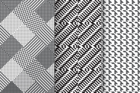 Set of 3 Abstract patterns. Black and white seamless backgrounds. Illustration