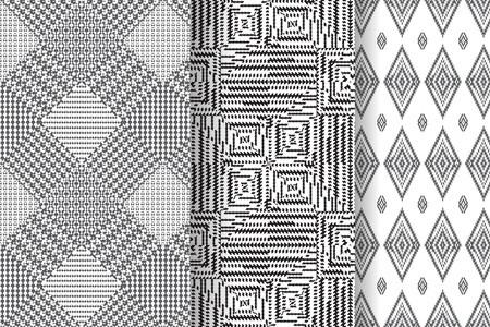 twill: Set of 3 Abstract patterns. Black and white seamless backgrounds. Illustration