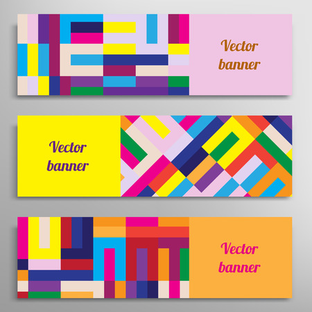 web design banner: Set of vector banners with abstract geometric colored shapes
