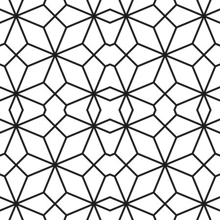 Ethnic line islamic pattern. Seamless vector geometric background in arabian style Black and white Ilustracja