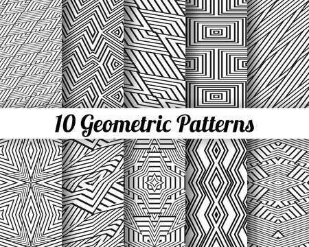 twill: Set of 10 Abstract patterns. Black and white seamless vector backgrounds.
