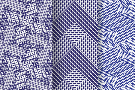 Set of 3 Abstract patterns. Seamless geometric illustration, cloth vector backgrounds, fabric textile pattern