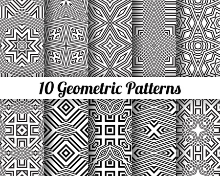 waves pattern: Set of 10 Abstract patterns. Black and white seamless vector backgrounds.