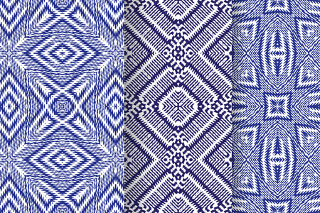twill: Set of 3 Abstract patterns. Seamless geometric illustration, cloth backgrounds, fabric textile pattern