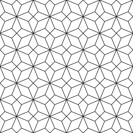 attern: Black and white geometric ornamental pattern. Traditional Arabic seamless ornament. Abstract background Illustration