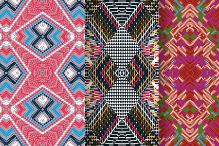 rug texture: Set of 3 Abstract patterns Illustration