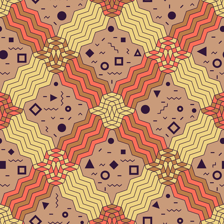 Seamless pattern background in retro geometric style for fabric print, paper print and website backdrop, vector illustration