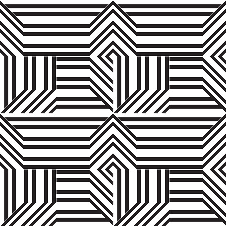 Abstract geometric seamless vector pattern. Black and white line stripes background.