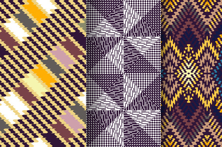 Set of 3 Abstract patterns, fabric textile pattern
