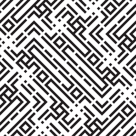 Patrón de vector transparente geométrico abstracto. Fondo de rayas de línea blanco y negro. Ilustración de vector
