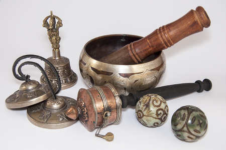 singing bowl: Singing Bowl Tibetan religious and set of objects on a white background