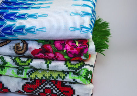 thread count: Plan macro embroidery fabric on a white background