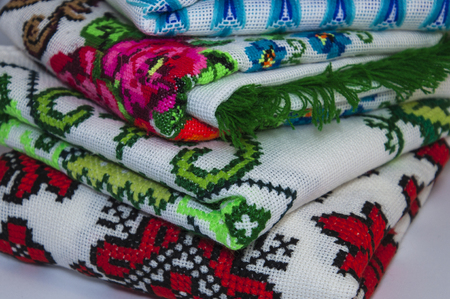 thread count: Traditional Ukrainian embroidered towels, close-up